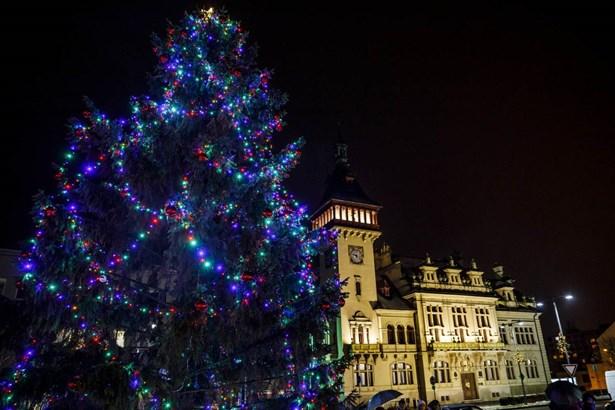 Popis: Vánoční strom v Napajedlech z loňského roku.