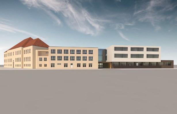 Popis: Vizualizace ukazuje, jak bude vypadat přístavba základní školy v Pardubicích-Svítkově.