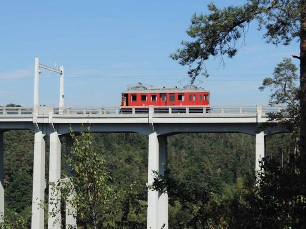 Popis: Elinka na trati, když zrovna přejíždí most přes Lužnici.