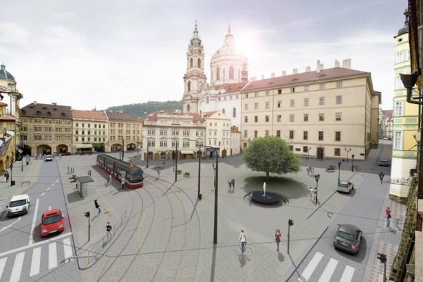 Popis: Vizualizace znázorňuje, jak bude vypadat Malostranské náměstí.