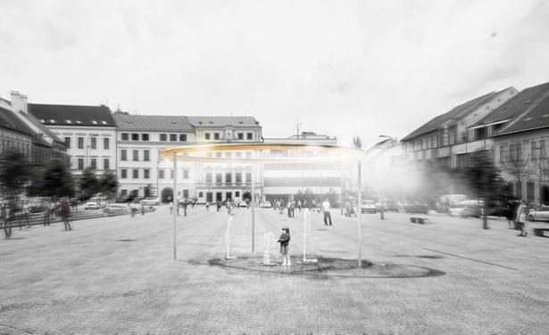 Popis: Vizualizace vítězného návrhu na nový vodní prvek na třebíčském náměstí.