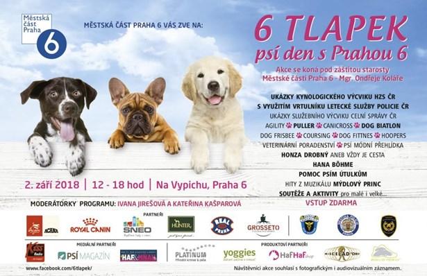Praha 6 zve nejen milovníky psů na psí den 6 Tlapek