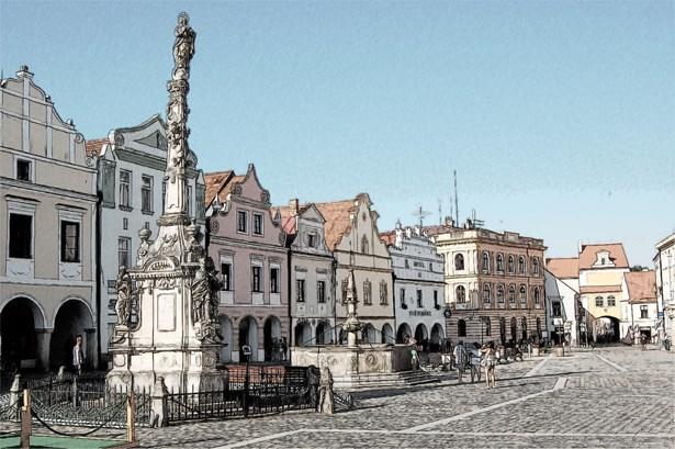 Popis: Náměstí v Třeboni.