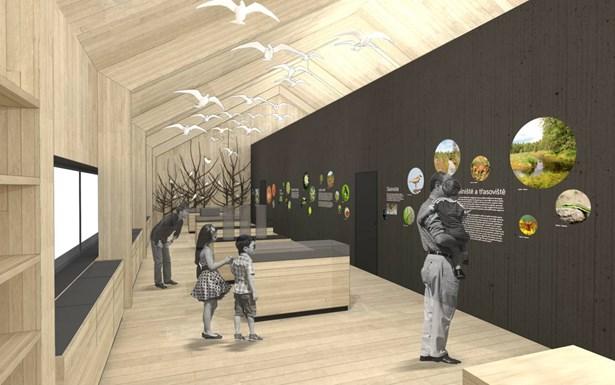 Popis: Vizualizace ukazuje, jak bude vypadat nové návštěvnické středisko.