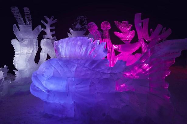 Popis: Ledové sochy na Pustevnách.
