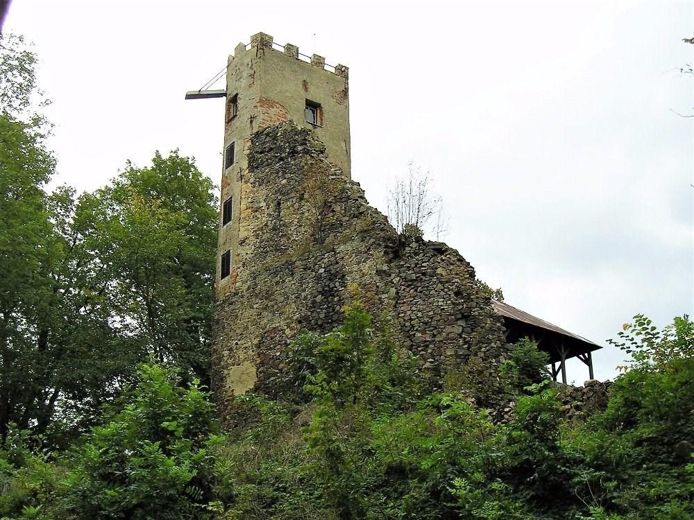 Popis: Pohled na rozhlednu, která je součástí zříceniny hradu Rýzmberk.