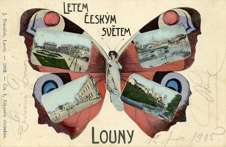Popis: Jedna z vystavených historických pohlednic, které jsou k vidění v Oblastním muzeu v Lounech do 30. června.